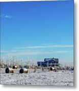 Haystacks In The Snow Before The Sunset Date Metal Print