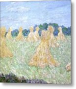 Haystacks The Young Ladies Of Giverny Sun Effect Metal Print