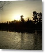 Hazy Mississippi River Sunrise Metal Print