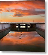 Hdr Sunset Over Harbor And Graffiti Metal Print