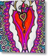 He She Heart Metal Print