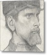 Head Of A Man With A Hat Metal Print