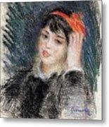 Head Of A Young Woman - 1878 -1880 Pierre-auguste Renoir Metal Print