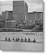 Head Of The Charles. Charles Rowers Black And White Metal Print
