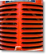 Head On To An Old Case Tractor Grill In Classic Orange Paint Metal Print