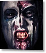 Head Shot On A Pure Evil Zombie Girl Metal Print