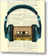 Blue Headphone And Yellow Cassette Collage Print Metal Print