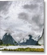 Heads In The Clouds Panorama At Milford Sound Metal Print