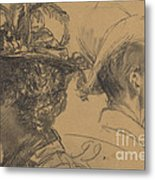 Heads Of A Man And A Woman Metal Print