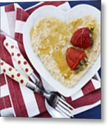 Healthy Breakfast Oats On Heart Shape Plate Metal Print