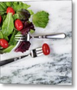 Healthy Organic Salad Flowing Out Of Plate On Natural Marble Tab Metal Print