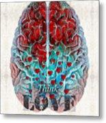 Heart Art - Think Love - By Sharon Cummings Metal Print