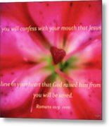 Heart Of A Flower With Bible Verses Metal Print