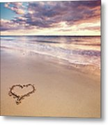 Heart On The Beach Metal Print by Elusive Photography