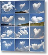 Heart Shaped Clouds - Collage Metal Print