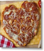 Heart Shaped Pizza Metal Print by Garry Gay