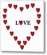 Heart Shapes Forming Heart Around Word 'love' Metal Print