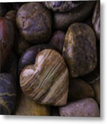 Heart Stone On River Rocks Metal Print