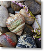 Heart Stone With Wild Flower Metal Print