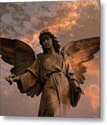 Heavenly Spiritual Angel Wings Sunset Sky  Metal Print by Kathy Fornal