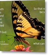Hebrews Scripture Butterfly Metal Print