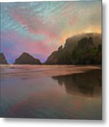 Heceta Head Lighthouse Foggy Sunset Metal Print