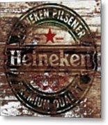 Heineken Beer Wood Sign 1a Metal Print