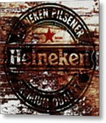 Heineken Beer Wood Sign 1j Metal Print
