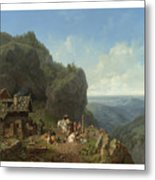 Heinrich Burkel 1802 - 1869 German Wirtshaus Auf Der Alm Mit Alpzug Tavern In The Alps Metal Print