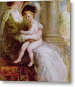 Helene Fourment And Her Son Frans Metal Print