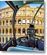 Helicopter On Colosseo Metal Print