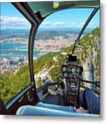 Helicopter On Gibraltar Rock Metal Print