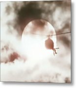 Helicopter Silhouette Metal Print