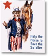 Help The Horse To Save The Soldier Metal Print