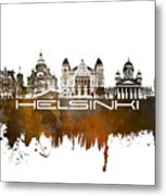 Helsinki Skyline City Brown Metal Print