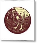 Hen Farm Oval Woodcut Metal Print