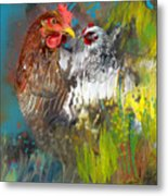 Hen Love Metal Print