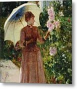 Henri Emile De Sachy France 19th Century Elegant Young Lady In The Garden Walk At Hollyhocks Metal Print