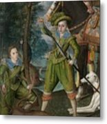 Henry Frederick 15941612 Prince Of Wales With Sir John Harington 15921614 In The Hunting Field Metal Print