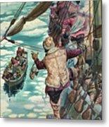 Henry Hudson Being Set Adrift Metal Print