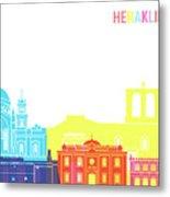 Heraklion Skyline Pop Metal Print
