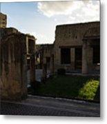Herculaneum Ruins - Mosaic Tile Streets And Sun Splashes Metal Print