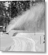 Here Comes That Snowblower Again Metal Print