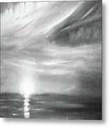 Here It Goes -vertical Sunset In Black And White Metal Print