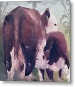 Hereford Cow Calf Metal Print