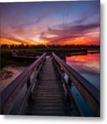 Heritage Boardwalk Twilight - Square Metal Print