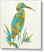 Heron Watercolor Art Metal Print