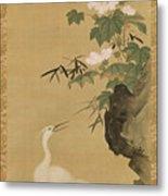 Herons And Cotton Roses Metal Print