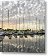 Herringbone Sky Patterns With Yachts And Boats  Metal Print