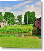Herr's Grist Mill And Covered Bridge Metal Print